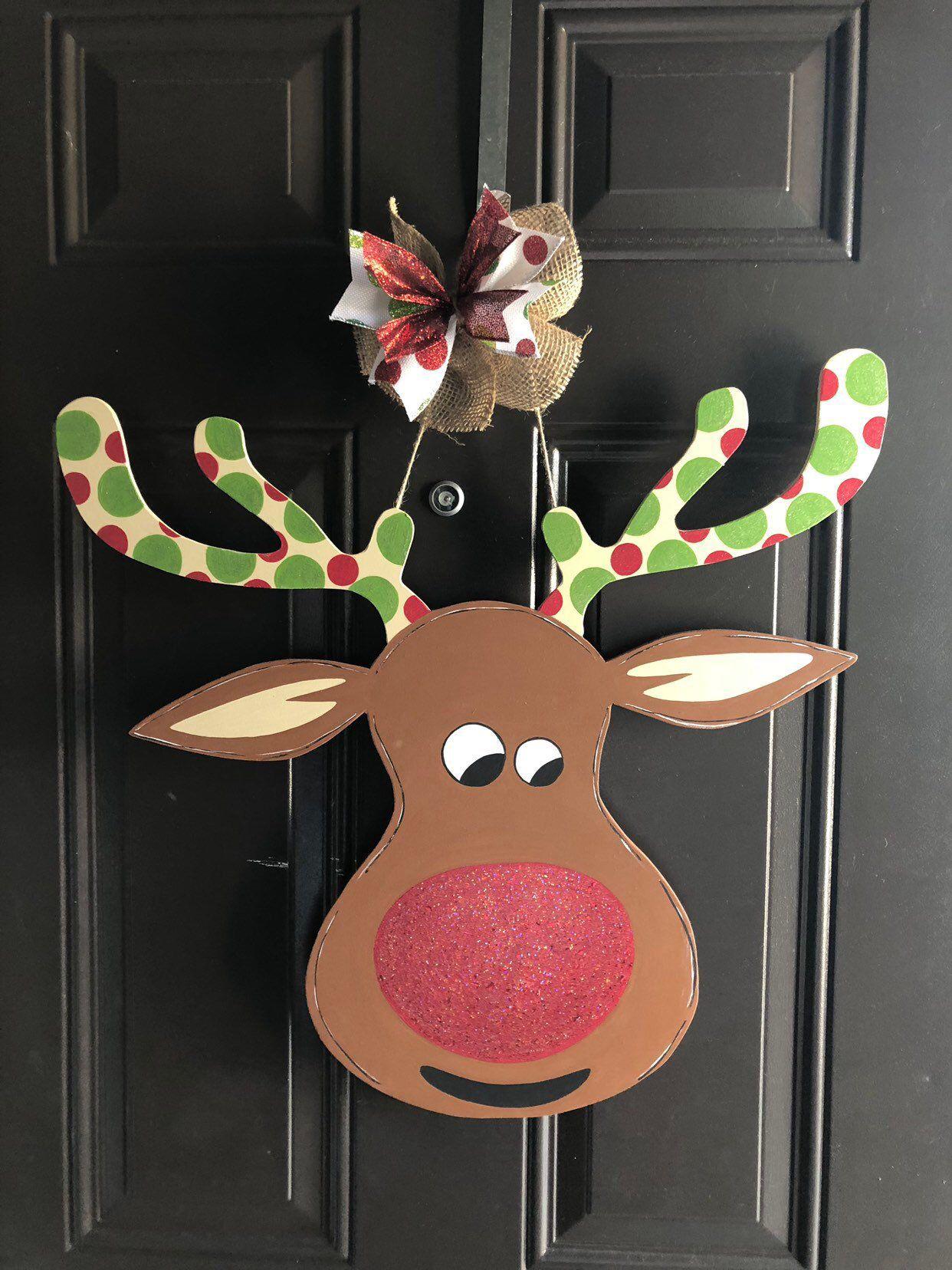 Ready to ship!!!! Reindeer Door Hanger | Door hangers ...