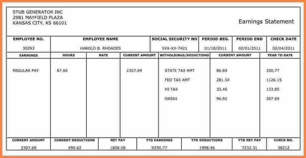 check pay stub templates using various indentations columns use