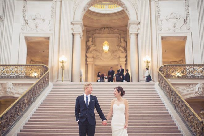 San Francisco City Hall Elopement Bride And Groom Stairs