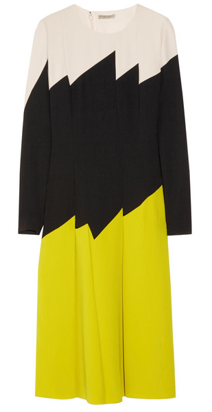 Olivia Palermo's #LFW Pin Picks: Recreate the look from Issa SS '15 with this color-block crepe dress by Bottega Veneta.