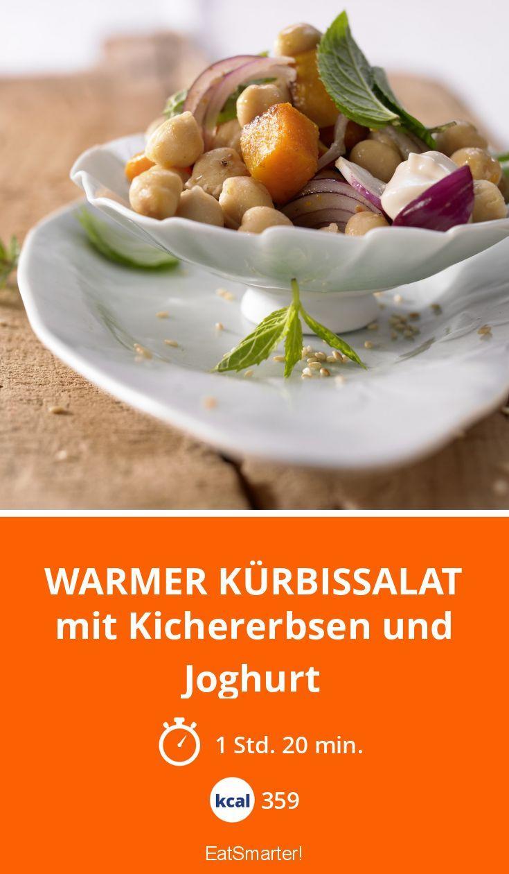 Warmer Kürbissalat - mit Kichererbsen und Joghurt - smarter - Kalorien: 359 Kcal - Zeit: 1 Std. 20 Min.   eatsmarter.de