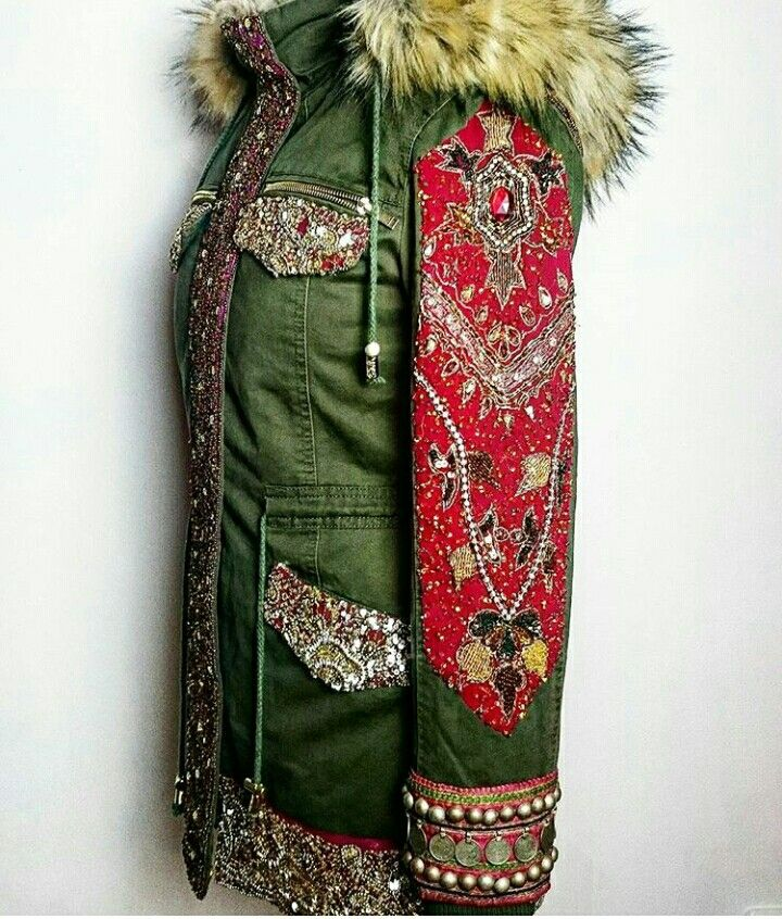 Parka Fur Embroidery Indian
