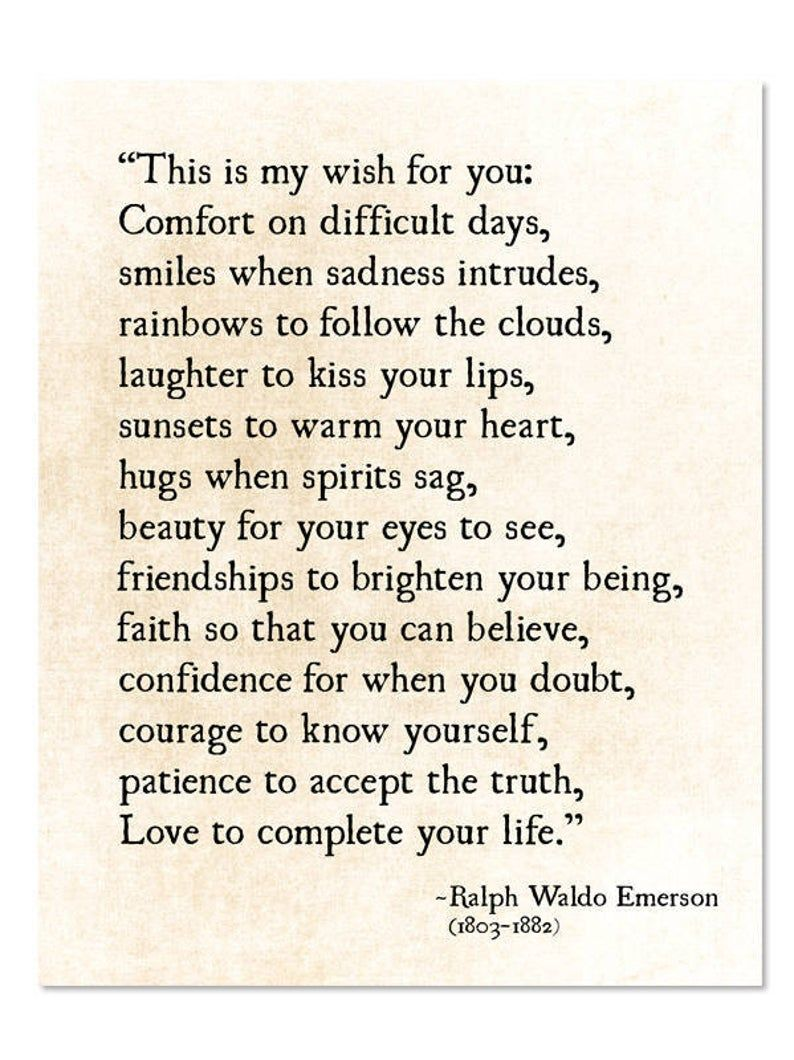 Ralph Waldo Emerson Quote, My Wish For You, Grad G