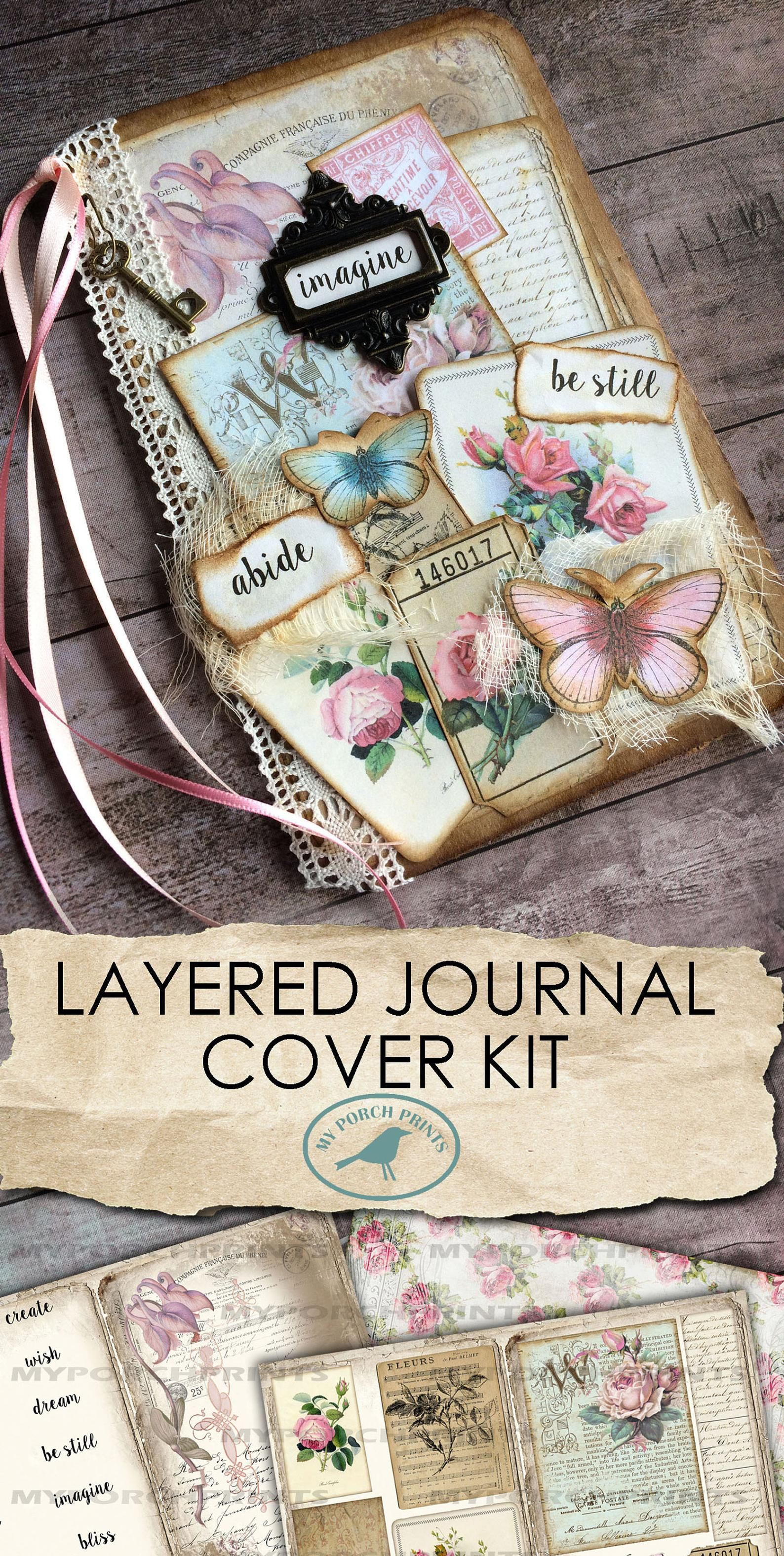 Layered Journal Cover Kit Junk Journal Kit Printab