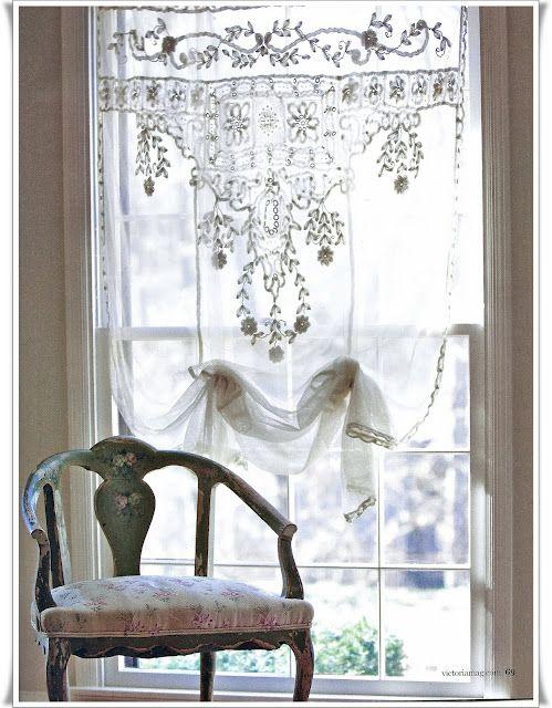 Battenburg Lace Purple Home Curtains Shabby Chic
