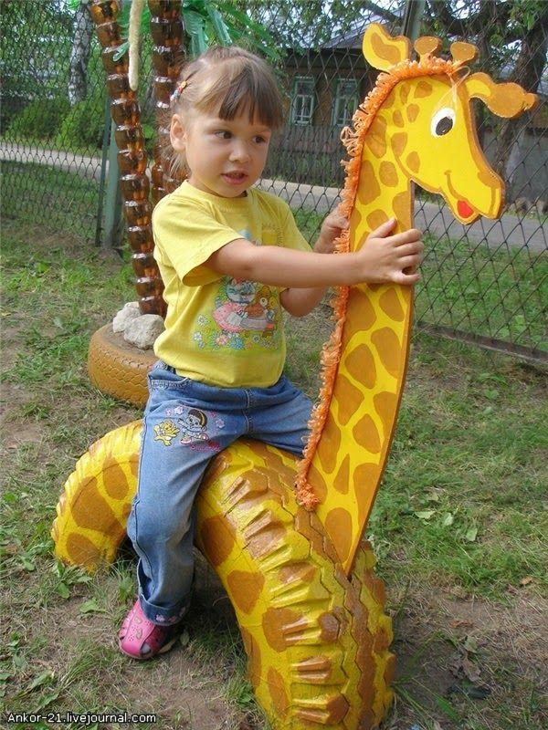 Resultado de imagem para pneus reciclados como decoração e brinquedos infantis