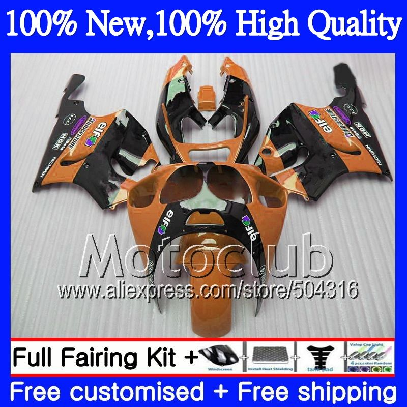 7r Orange Black Fairing For Kawasaki Ninja Zx7r 96 03 1996 1997 1998