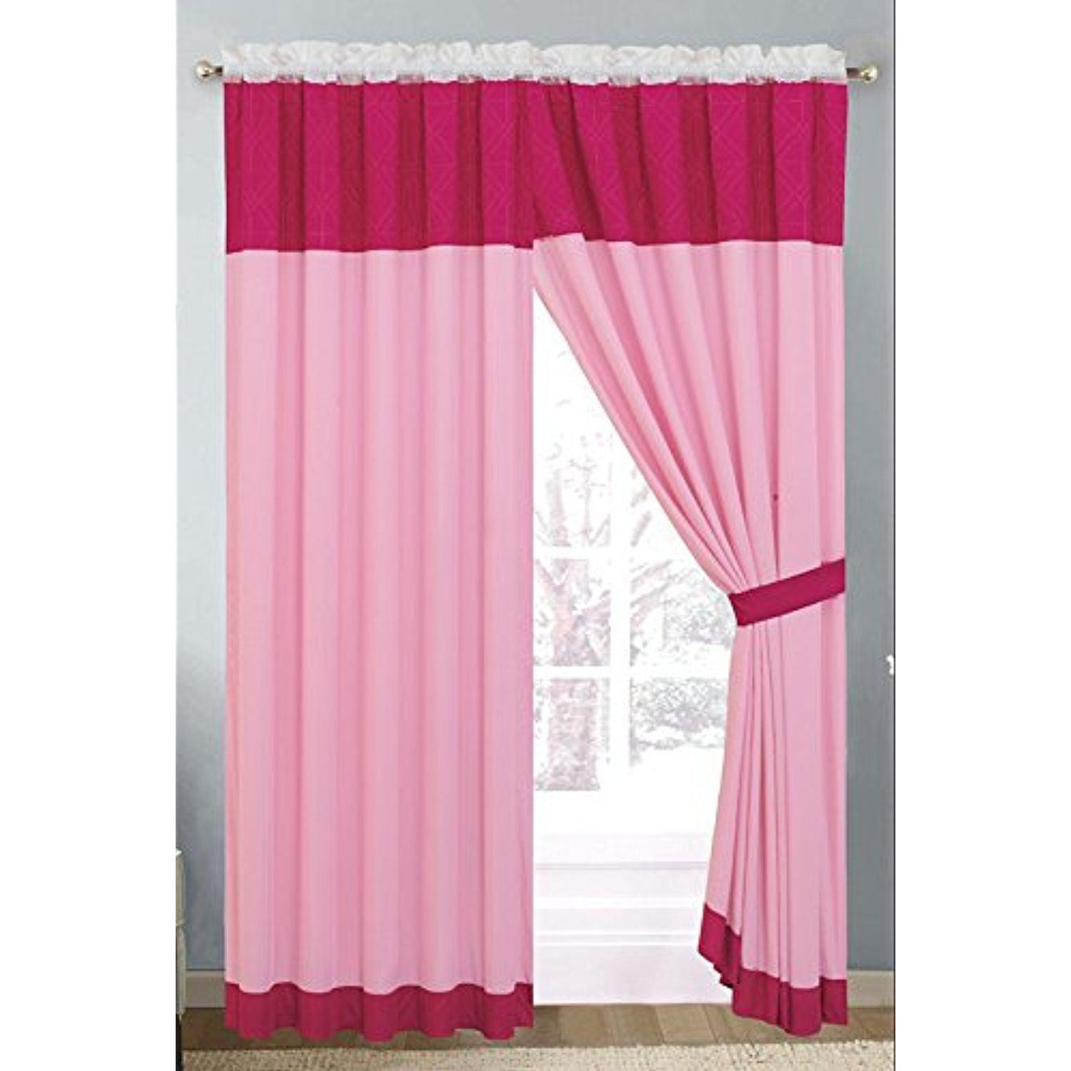 Modern 4 Piece Hot Pink Light Pink White Curtain Set With