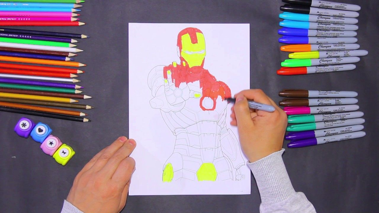 Colors For Kids Coloring Art Coloring Iron Man Drawing For Children Drawing For Kids Coloring For Kids Colorful Art