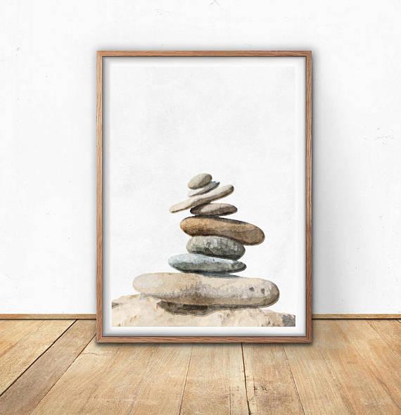 Zen Stone Art Rock Decor Stacking Rocks Zen Poster Neutral Living Room Decor Brown Living Room Stone Art Rock Decor Art