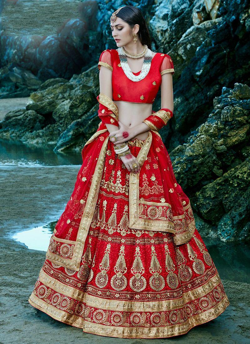Bridal Lehenga | Buy Red-net-embroidered-work-wedding-wear-lehenga ...