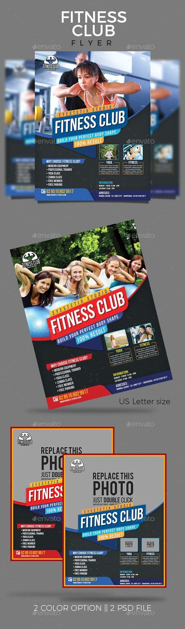 Sport Fitness Club Flyer  Club Flyers Flyer Template And