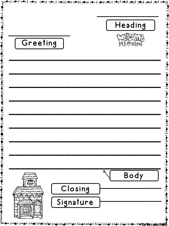 Back to School ~ Friendly Letter Fun Teach, review or revisit - letter writing template