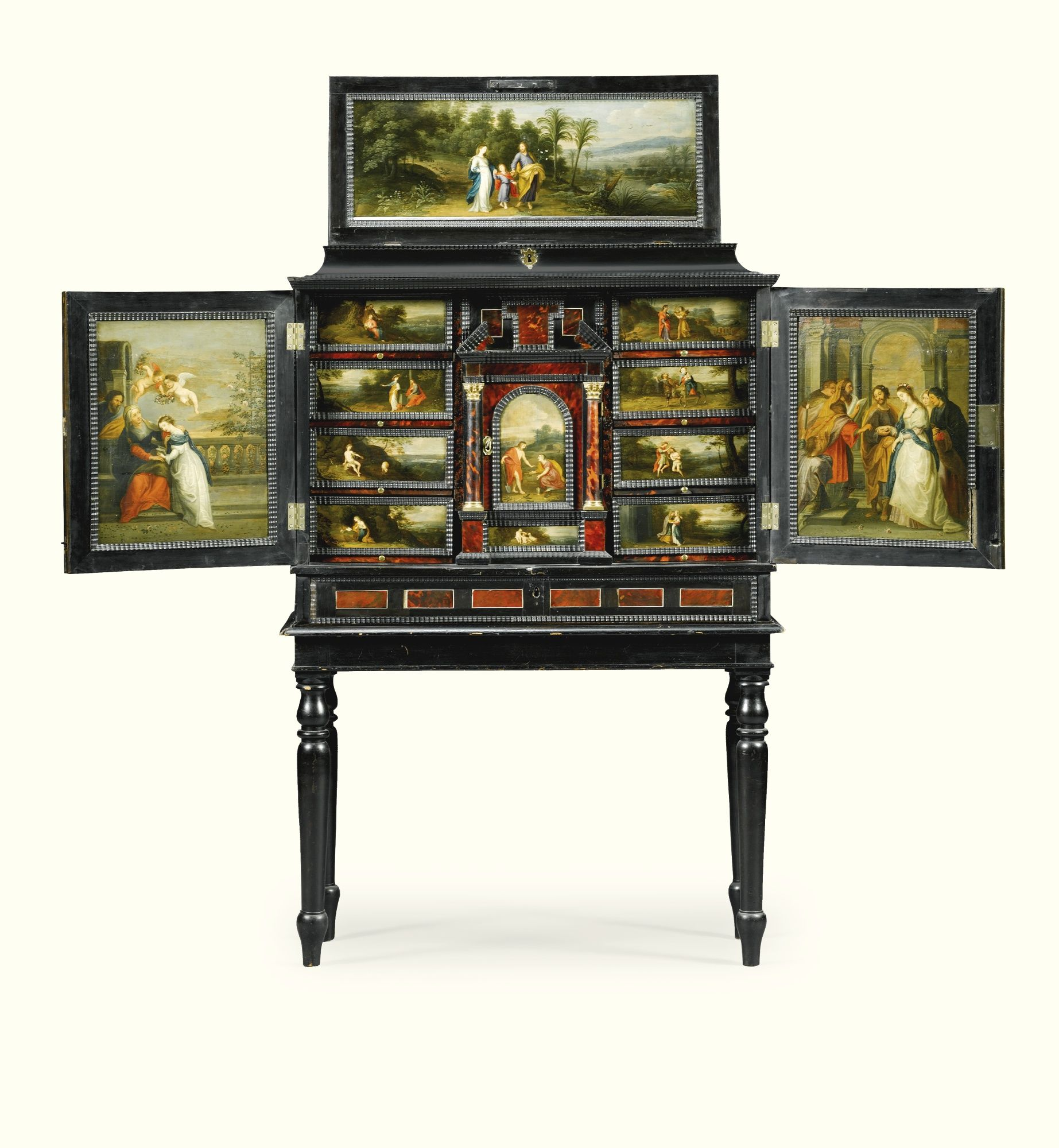 A FLEMISH IVORY INLAID EBONY, EBONISED AND TORTOISESHELL CABINET INSET WITH PAINTED PANELS, IN THE MANNER OF HENDRIK VAN BALEN (1575-1632), ANTWERP SECOND HALF 17TH CENTURY
