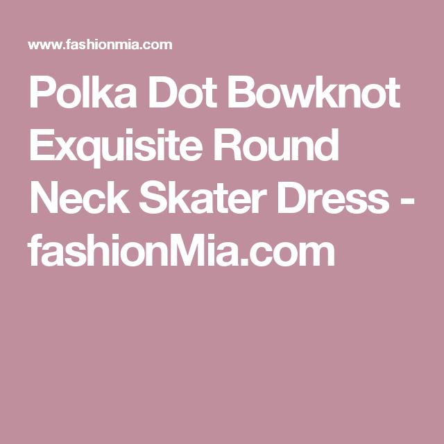 Polka Dot Bowknot Exquisite Round Neck Skater Dress  -  fashionMia.com
