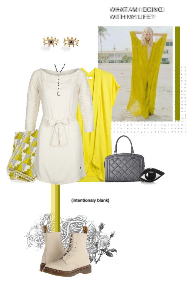 """""""yellow"""" by jenhoney ❤ liked on Polyvore featuring Farhi by Nicole Farhi, Charles Jourdan, Eleanor Pritchard, Dr. Martens, Nümph, Marc by Marc Jacobs, Alkemie and Lulu Guinness"""
