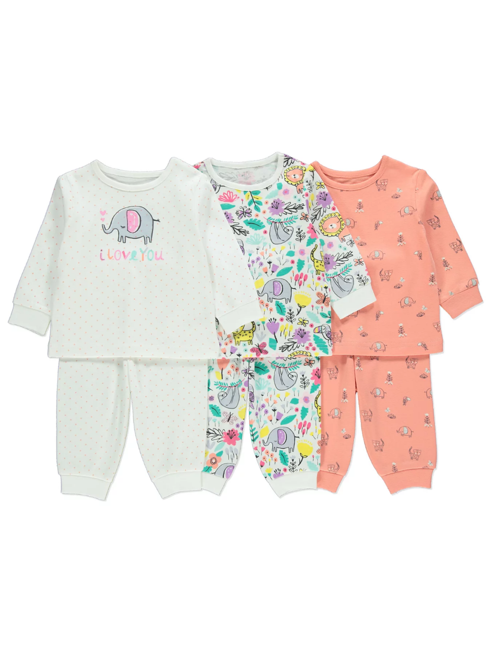bluezoo Kids Pack of Two Babies Blue Animal Print Sleepsuits