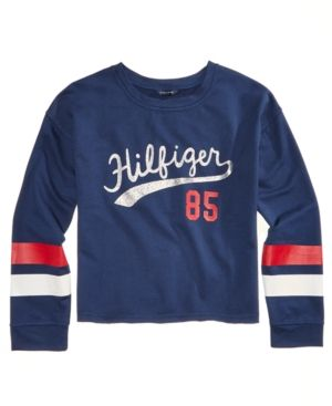 09d03234 Tommy Hilfiger Glitter Logo Sweatshirt, Big Girls (7-16) - Blue XL ...