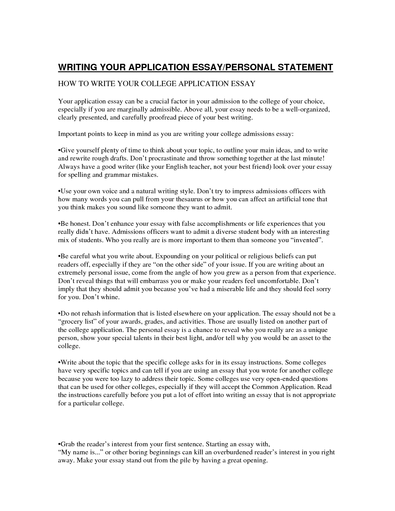 Personal essay for college sample