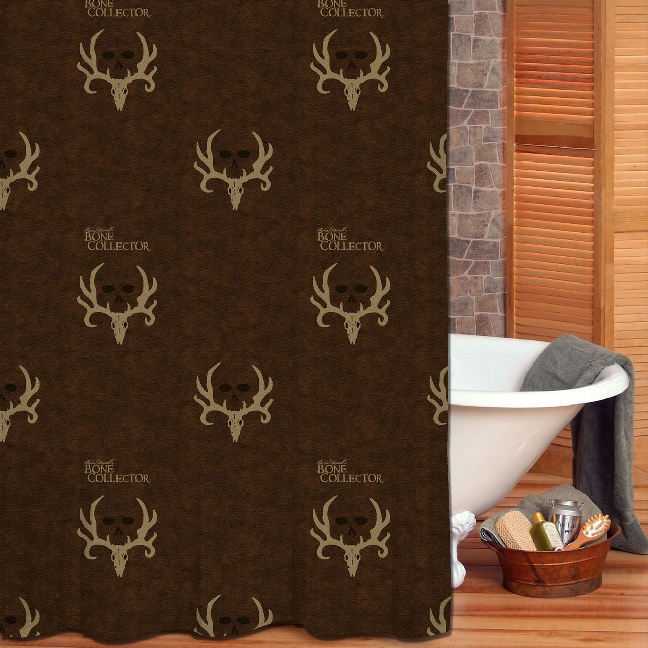 Discount Duos - Bone Collector Brown and Tan Fabric Shower Curtain ...