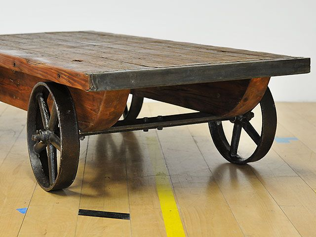 Truck coffee table with cast iron wheels and underframe Nice