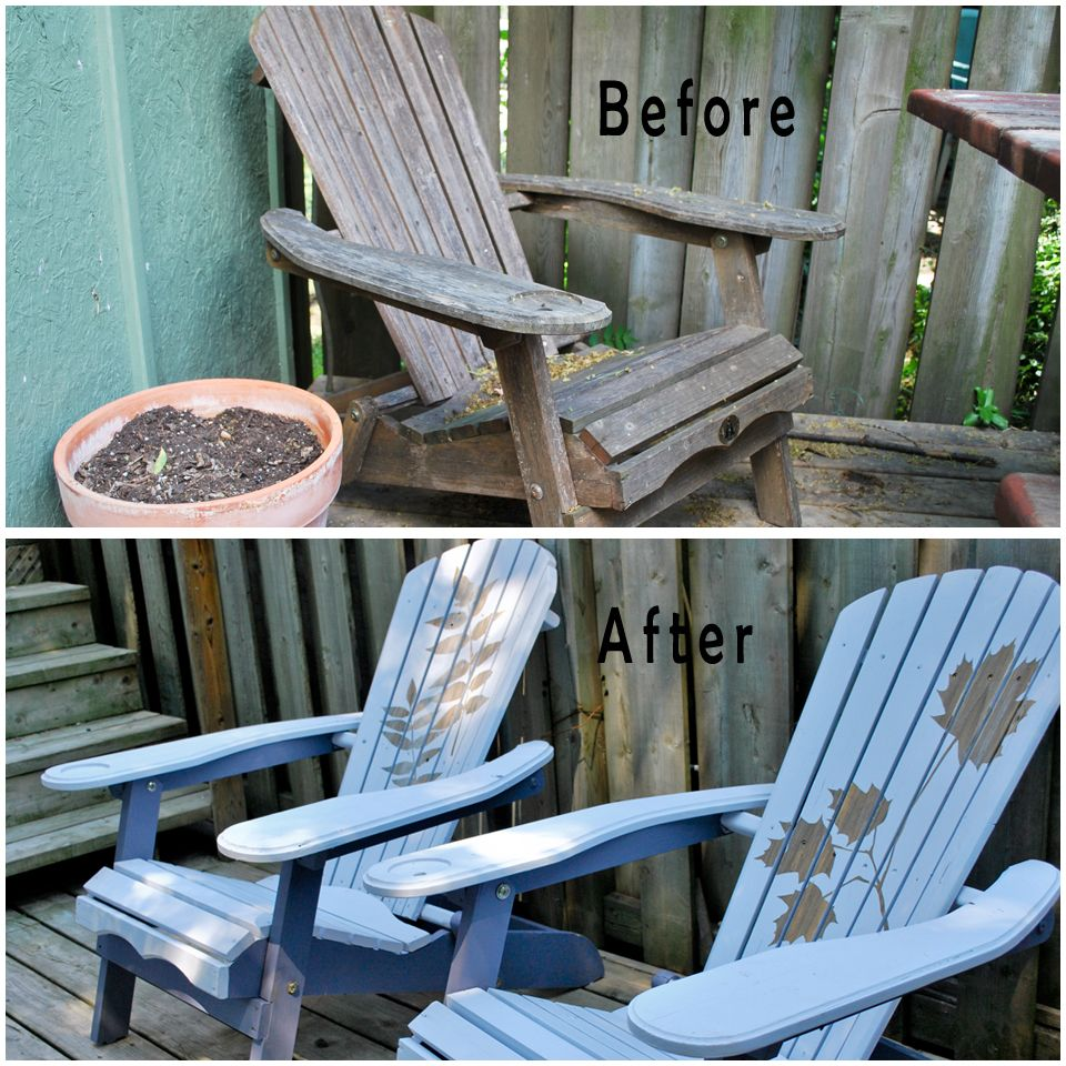 Before And After Reverse Stenciled Adirondack Chairs