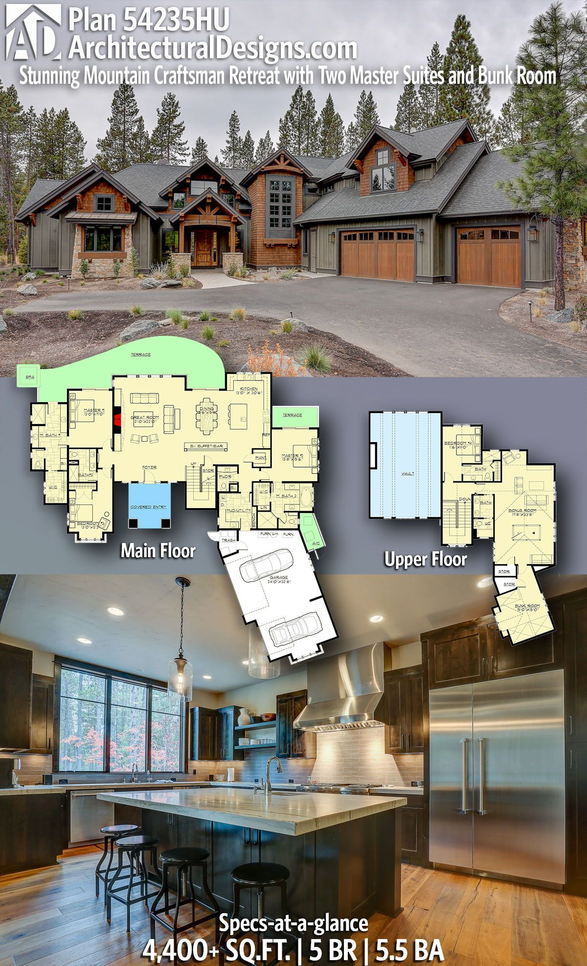Plan 54235hu Stunning Mountain Craftsman Retreat With Two Master Suites And Bunk Room Rustic House Plans Craftsman House Plans House Designs Exterior