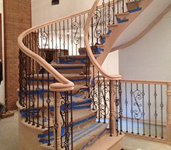 Best Curved Wood Stairs Railing Designs In Brooklyn New York 400 x 300