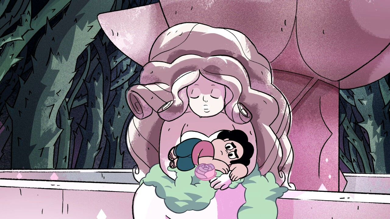 Steven Universe With A Statue Of His Mom Rose Quartz Episode An