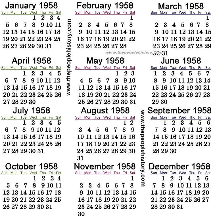 Calendario 1958.Major World Events In 1958 What Happened In 1958 Inc Pop Culture