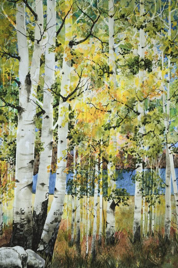Large Original Landscape Watercolor Colorado Fall Aspens