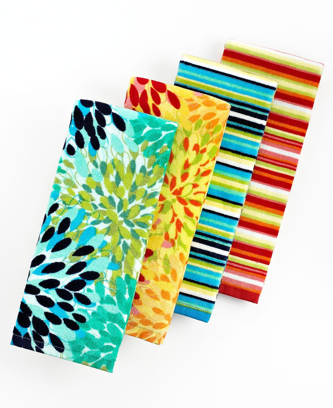 Fiesta Kitchen Towels, Calypso Floral Or Stripe   Table Linens   Dining U0026  Entertaining