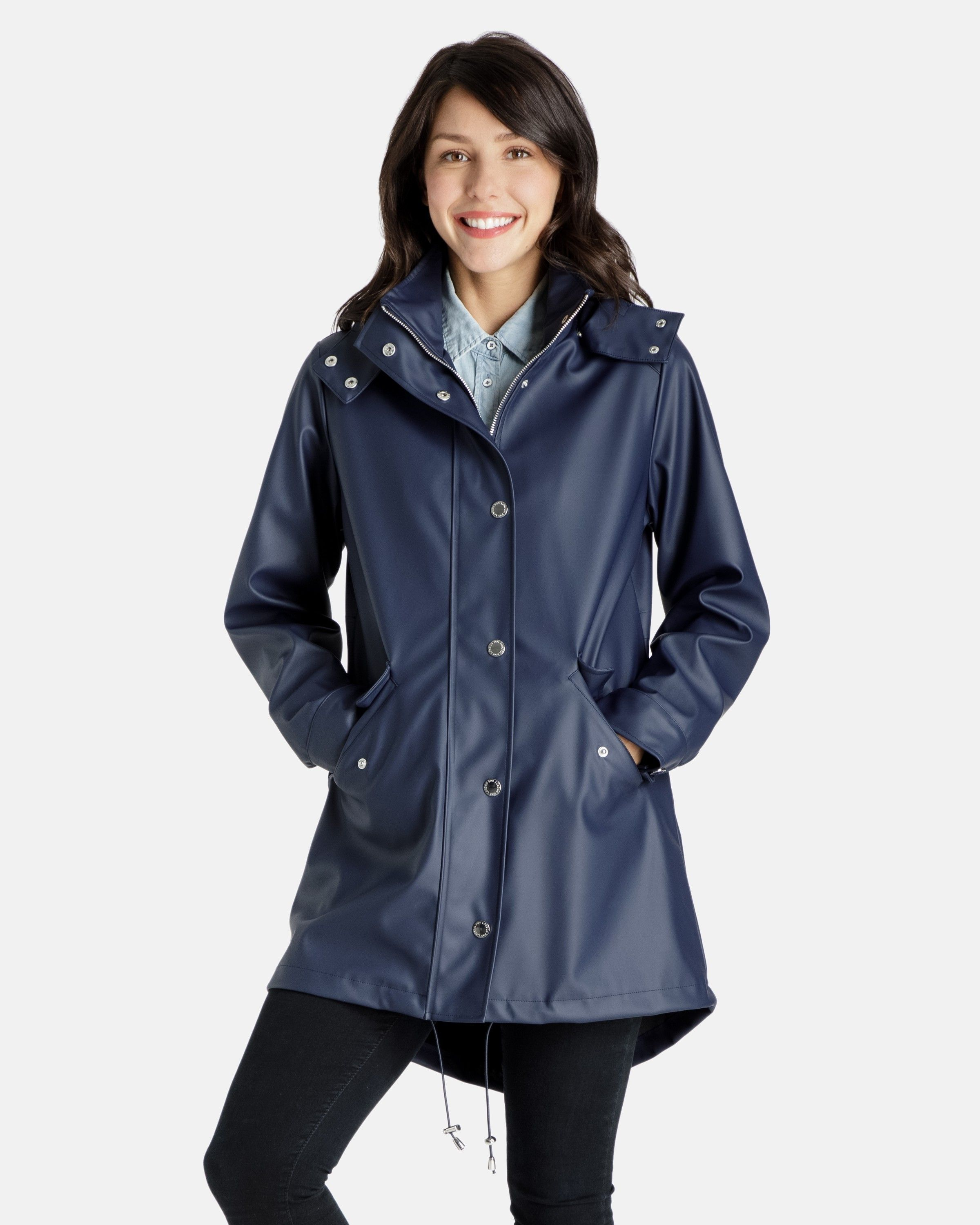 92f11f4a696 Michaela Rubberized Rain coat with Removable Hood - View All - Coats for  Women - Women  RaincoatsForWomenCloset  RaincoatsForWomenHoods