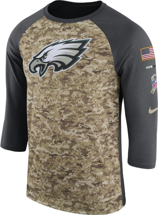 Nike Dry Legend STS Raglan (NFL Eagles) Men s 3 4 Sleeve T-Shirt ... 847f0fdc8