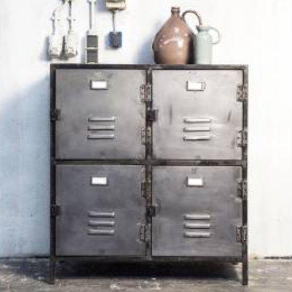 Kommode NEW VINTAGE 4 Türen Metall Vintage silber anthrazit - schrank für wohnzimmer