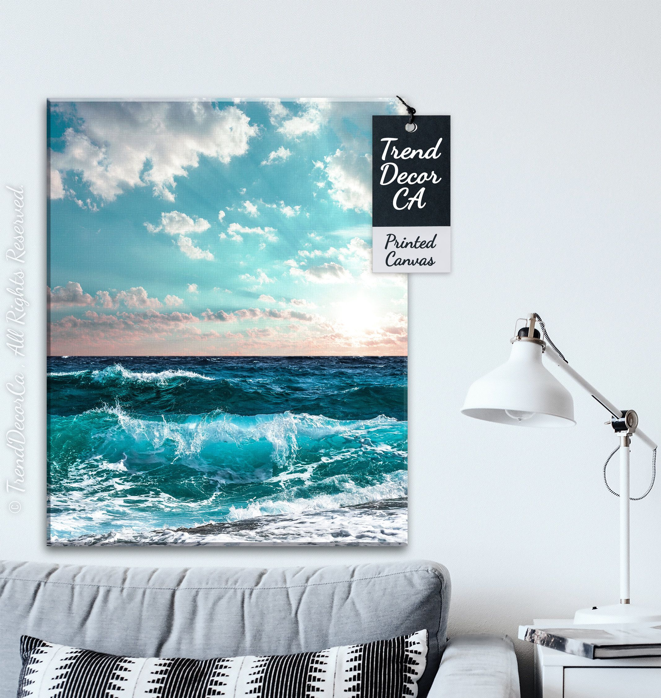 Sea Wave Canvas Ocean Wave Art Beautiful Ocean Decor Ocean Etsy Ocean Waves Art Nautical Canvas Art Nautical Canvas