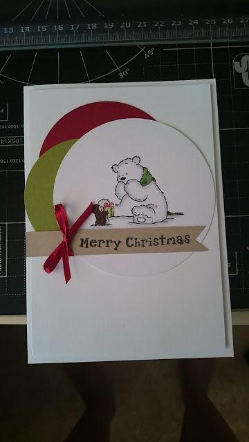 Christmas card, polar bear, penguin, green, red, white, merry - christmas card layout