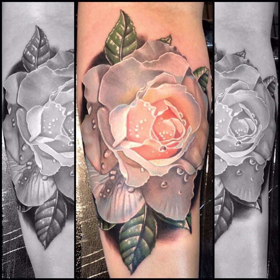 Realistic white rose tattoo cool tattoos continues pinterest realistic white rose tattoo dhlflorist Images