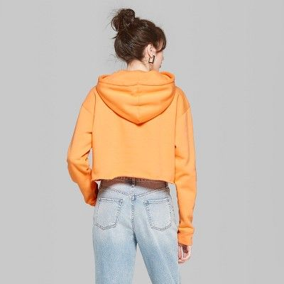 "53398f1af7651 Women s Long Sleeve Cropped Hoodie - Wild Fableâ"" 20Tropical Orange XL   Cropped"