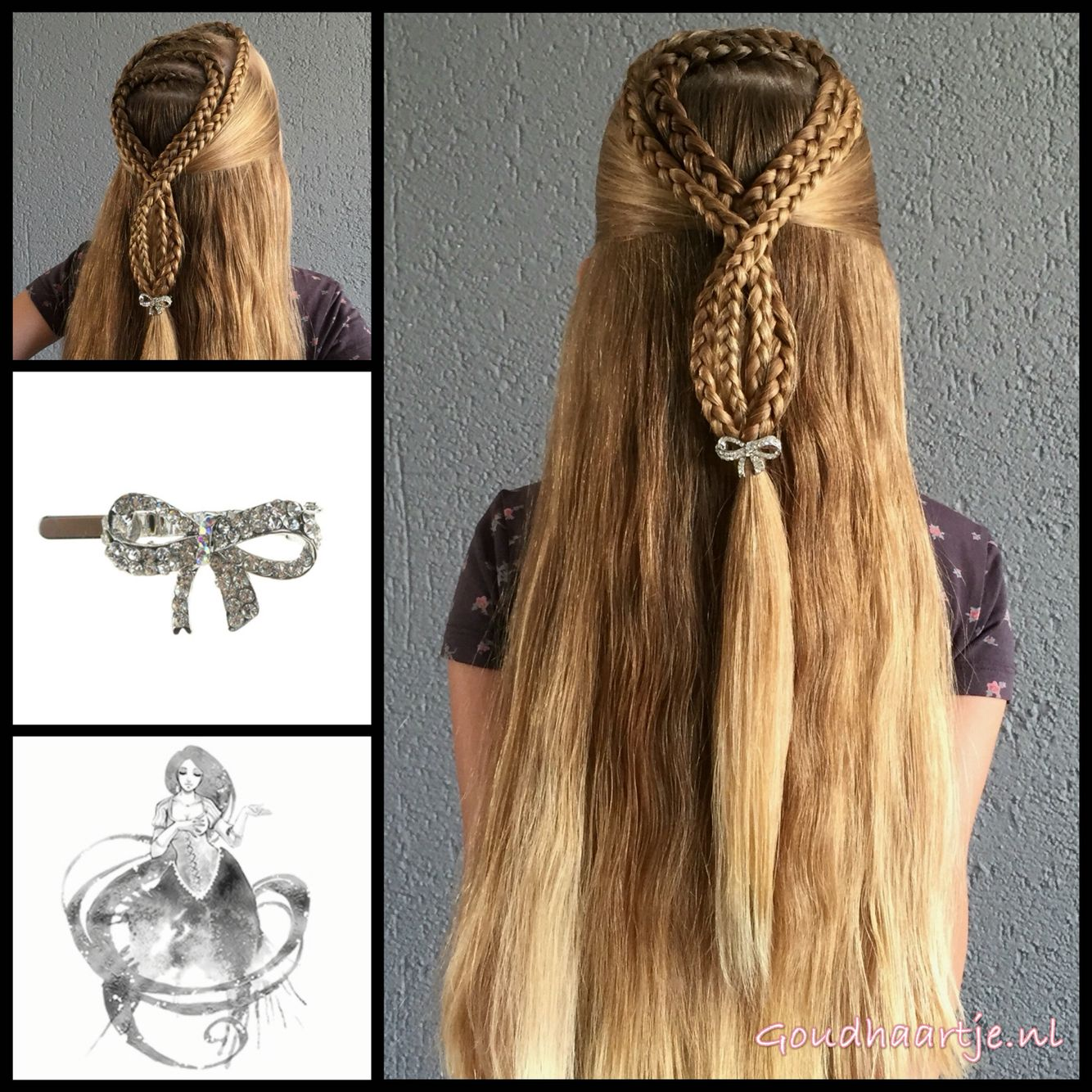 Halfup hairstyle with a cute bow hairclip from the webshop