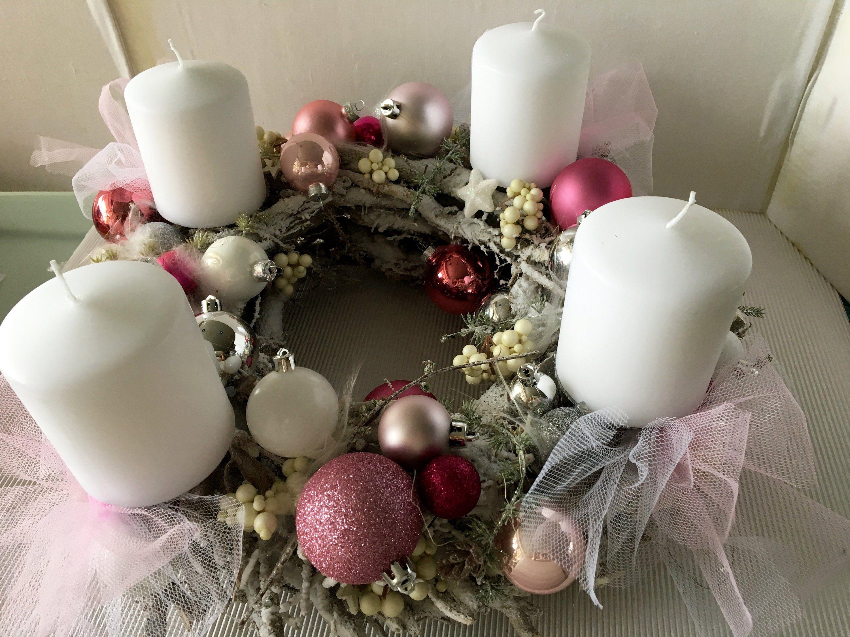 adventskranz prachtst ck weiss rosa weihnachten. Black Bedroom Furniture Sets. Home Design Ideas