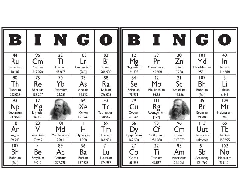 Periodic table bingo cards academia pinterest periodic table periodic table bingo cards urtaz Choice Image