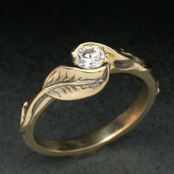 Delicate Two Leaf Ring Made In Either 14k Yellow Gold Or