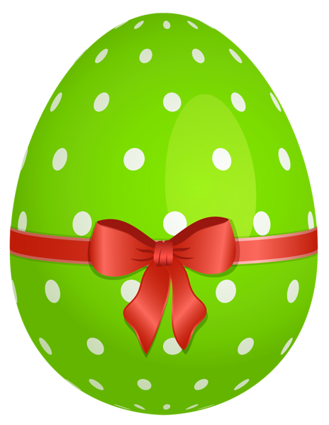 Green Dotted Easter Egg With Red Bow Png Clipart Easter Clipart Easter Bunny Pictures Easter Colors