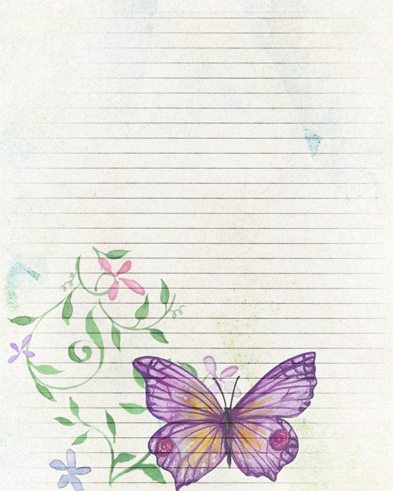 Printable Journal Page, Butterfly Digital Paper, Lined Stationery, 8 X 10  JPG Instant  8x10 Resume Paper
