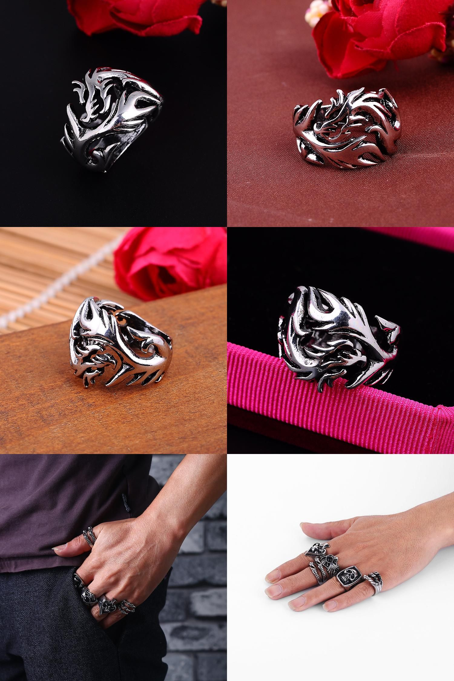 [Visit to Buy] Fashion Jewelry Chinese Dragon Titanium Rings Men's Stainless Steel Rings Personality Casual Vintage Punk Rings R003 #Advertisement