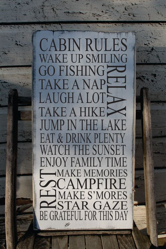 Cabin Rules Sign Rustic Cabin Sign Up North Decor