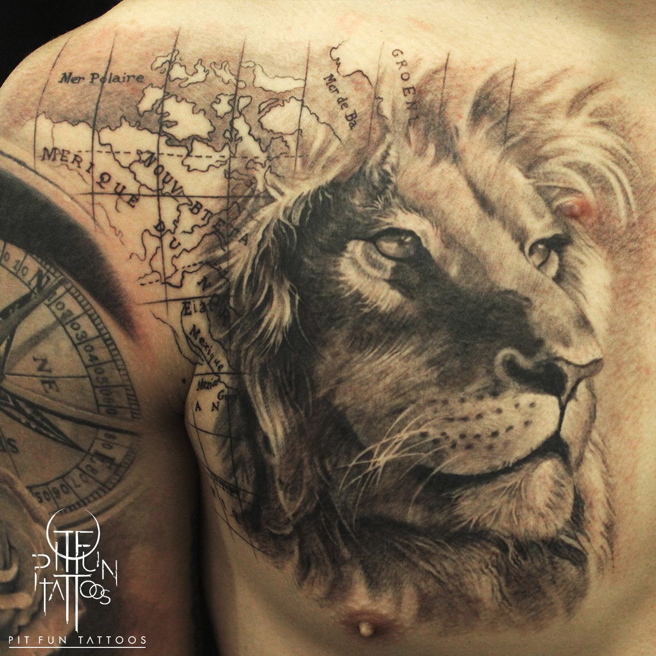 Lion On Chest Chest Tattoo Animal Lion Chest Tattoo Lion Tattoo Design