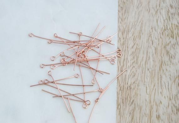 Photo of 100 pcs 1.5″ Rose gold plated Eye pins, eye pins, 1.5 inch eye pins, craft supply, jewellery making,  A237