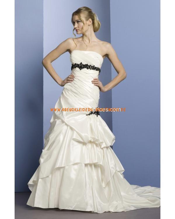 2013 Brautkleider günstig aus Taft A-Linie mit Schleppe